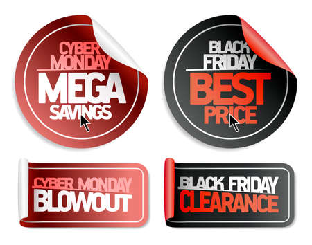 Syber monday mega savings, syber monday blowout, black friday best price and black friday clearance - vector sale stickers set