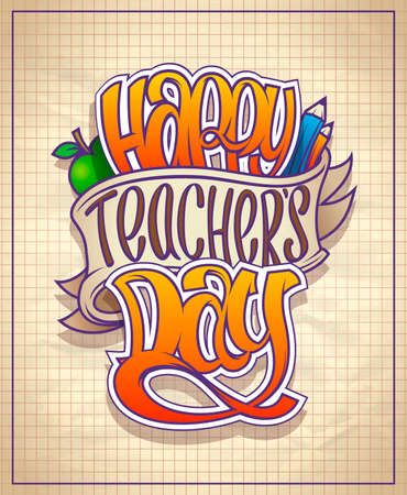 Happy teacher's day holiday card or poster vector design Stock Illustratie