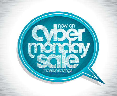 Cyber monday sale web banner with speech bubble and mosaic lettering, vector poster design Stock Illustratie