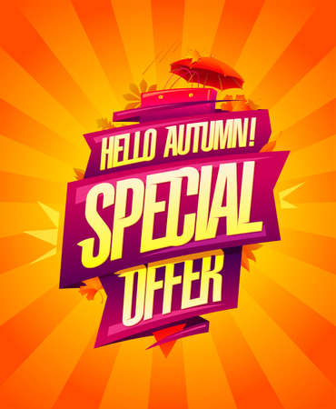 Hello autumn, special autumn offer - advertising poster template for autumn sale Stock Illustratie