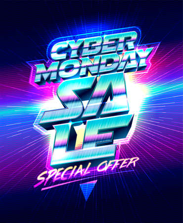 Cyber monday sale, special offer, vector illustration banner template Stock Illustratie