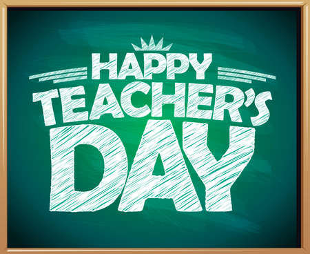 Happy teacher's day green chalkboard banner template ----