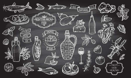 Mediterranean traditional food collection on a chalkboard background. European food ingredients - olive oil, vegetables, cheese, herbs and seafood. Labels and lettering ribbons included.