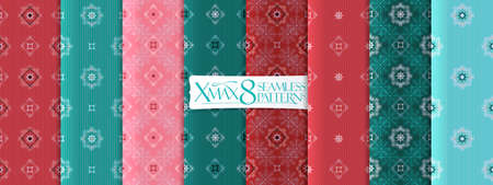 Classic christmas leaves pattern set, vector seamless backgrounds