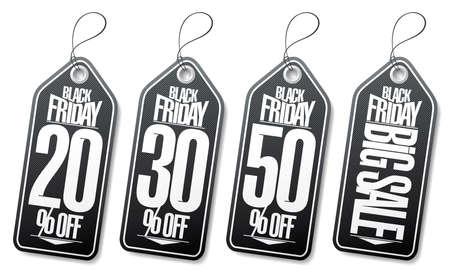 Black friday sale vector tags set - 20% off, 30% off, 50% off, big sale 向量圖像