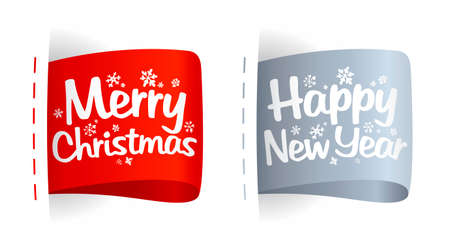 New year and Christmas clothing labels.