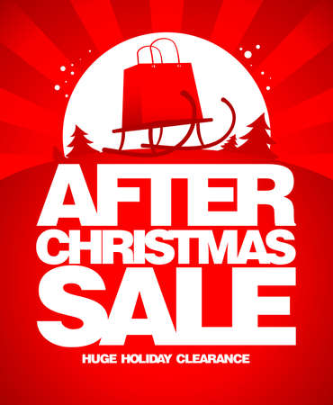 After christmas sale design template with shopping bag on a sled. Vettoriali