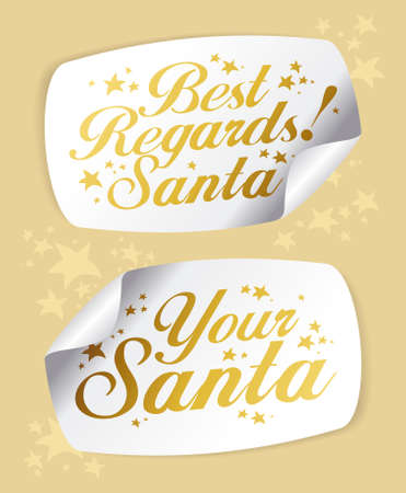 Gold Greeting Stickers from Santa.