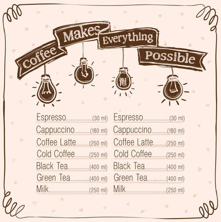 Coffee menu display board - coffee make everything possible poster design for coffee shop, hand drawn vector graphic illustration, copy space for text