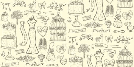 Light wedding bridal seamless pattern with cake, dress, accessories, hearts and ribbons
