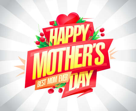 Happy Mother's day vector card template with red ribbon, heart and tulip flowers
