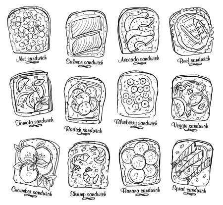 Assorted sandwiches with berries, fruits and vegetables, meat and seafood. Black and white vector garphic illustration