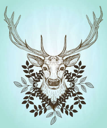 Male deer front view portrait, decorated leaves wreath, vintage style graphic illustration, rasterized version