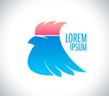 Cool pink hairstyle bird vector logotype design, profile bird portrait Logo