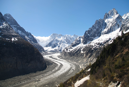 Glacier in the Alps mountains, France. Horizontal shot