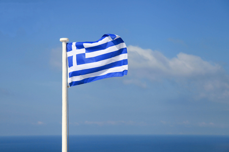 National flag of Greece. Blue sky. Horizontal shot Foto de archivo
