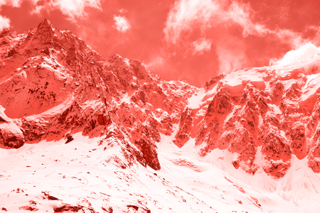 Living Coral Colors. Color of the year 2019. Annapurna basic camp. Nepal. Himalaya Stock Photo