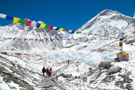 Mount Everest base camp, Khumbu glacier and mountains, sagarmatha national park, trek to Everest base camp - Nepal Himalayas