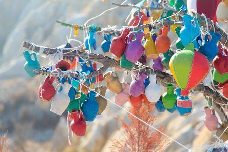 Traditional Turkish souvenirs. Colourful jugs. Cappadocia. Goreme.