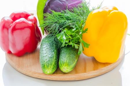 halved  half: Fresh vegetables lying on a cutting board