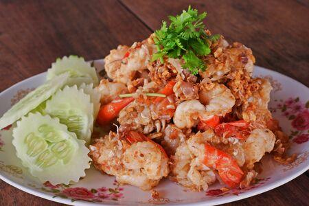 freshwater: fried giant freshwater prawn with garlic