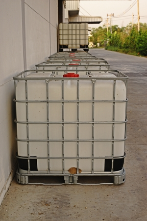 bulk container for liquid solvent and chemical storage, industrial chemical Stock Photo