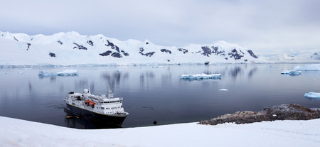 Antarctic Landscape - Ship in Antarctic Waters photo