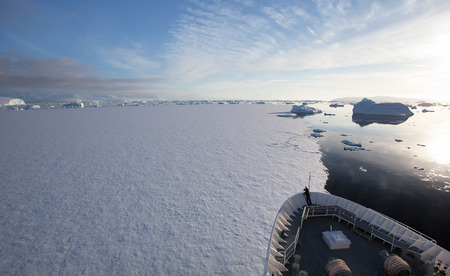 Ship Breaking Ice in Antarctica