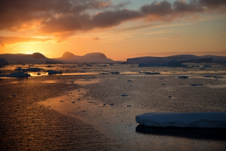 Antarctic Sunset near Antarctic Circle Stock fotó