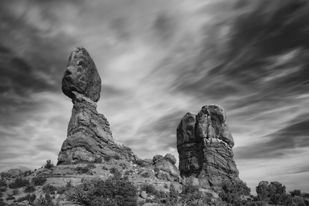 Black and White Balanced Rock in Arches National Park near Moab, Utah