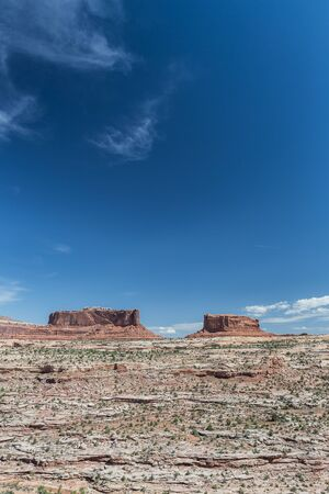 butte: Merrimac Butte and Monitor Butte in Canyonlands National Park Stock Photo