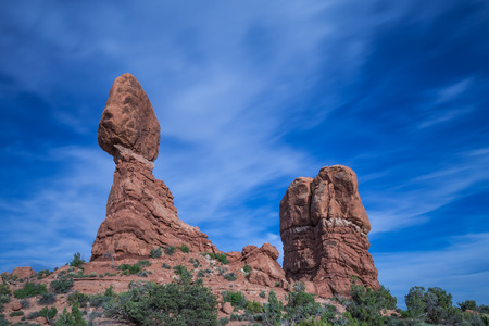 Balanced Rock in Arches National Park near Moab, Utah Stock fotó