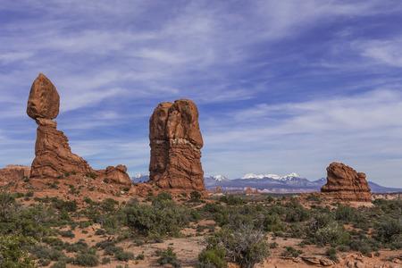 moab: Balanced Rock in Arches National Park near Moab, Utah Stock Photo