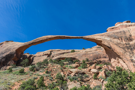 moab: Landscape Arch in Arches National Park near Moab, Utah Stock Photo