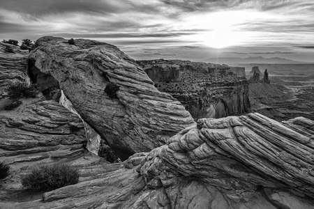 Black and White Mesa Arch in Canyonlands National Park near Moab, Utah