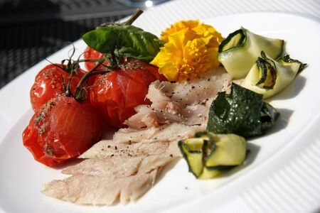 cheff: dish on the white plate