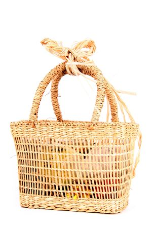 natural basket isolated on the white background photo
