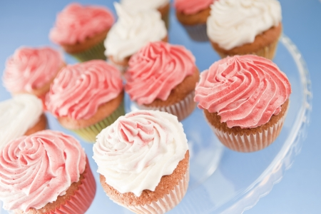 Homemade pink and white cupcakes on the plate photo