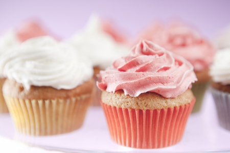 cupcakes isolated: Homemade pink and white cupcakes on the plate Stock Photo