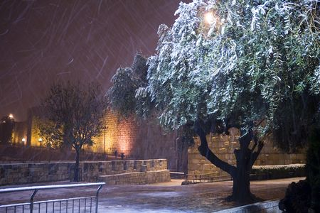 snowfall near the walls of old city of jerusalem Stock Photo