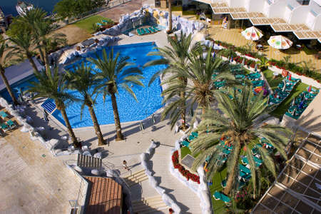 recreational area: israel; eilat; hotel; swimming pool, be on holiday Stock Photo