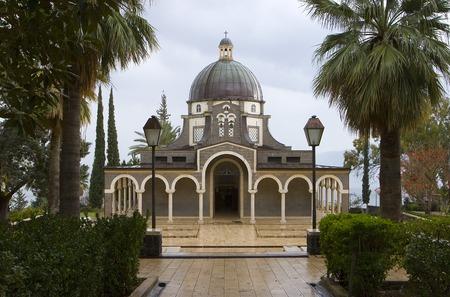 pilgrim journey: Catholic church in the north of Israel near lake kinerert