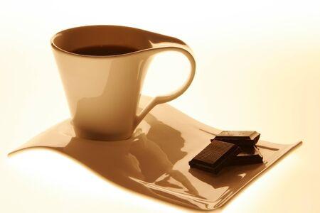 non alcoholic beverage: Coffee mug and the chocolate Stock Photo