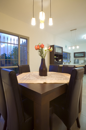 tne new design dinner room and kitchen Stock Photo - 1694787