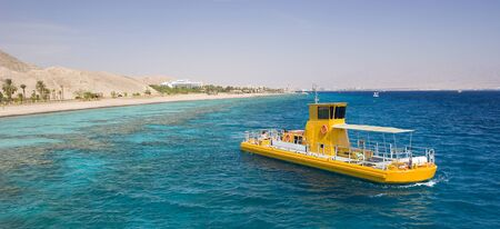 alpine zone: The south of Israel eilat city a yellow boat in the sea