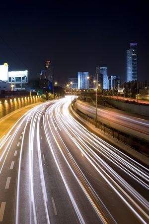 The night city, Business centre Ramat Gan, Israel, highway photo