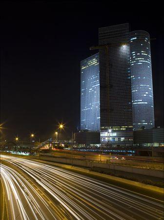 ramat aviv: night highway Stock Photo