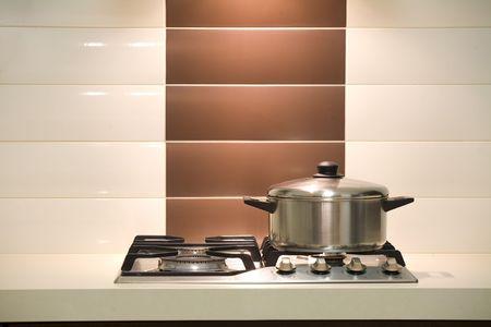 Modern kitchen  Saucepan on an oven