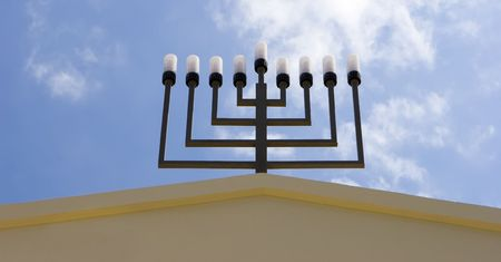shalom: Israel jewish synagogue in  Mazkeret Batya  close-up of menorah