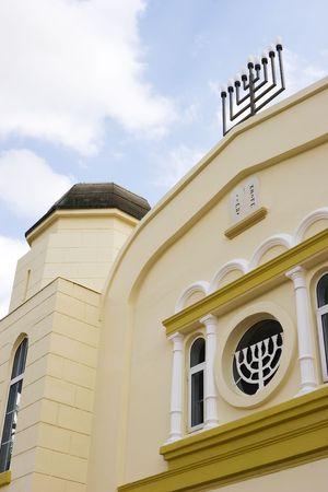 Israel jewish synagogue in Mazkeret Batya / close-up of menorah